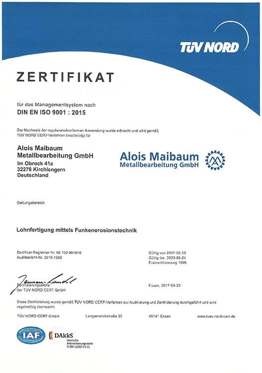 Alois Maibaum | Funkenerosionstechnik Zertifikat